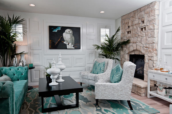 Eclectic-Living-Room-Decorations-with-Turquoise-Accent-and-Stone-Wall-Fireplace